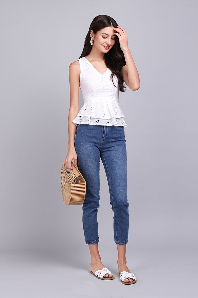 Girl About Town Top In White Eyelet