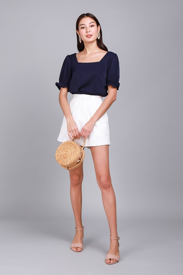 Lighthearted Soul Top In Navy Blue