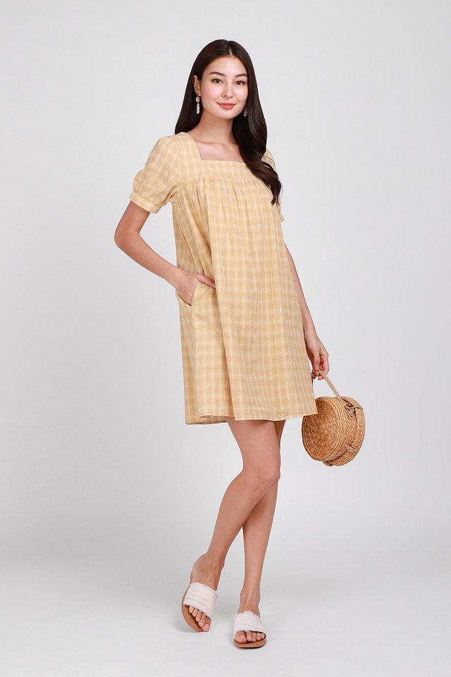 Sunshine Heart Dress In Yellow Checks