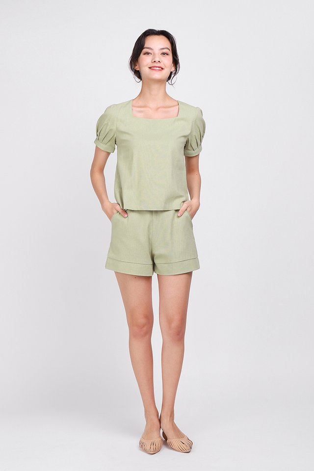 Good Days Ahead Shorts In Sage Green