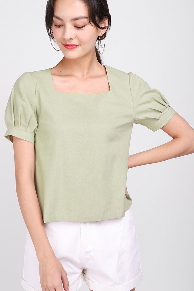 Breezing Through The Weekend Top In Sage Green