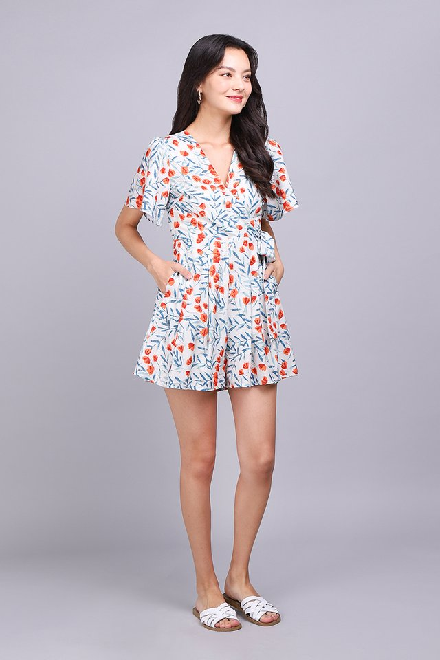Endless Possibilities Romper In Apricot Blooms