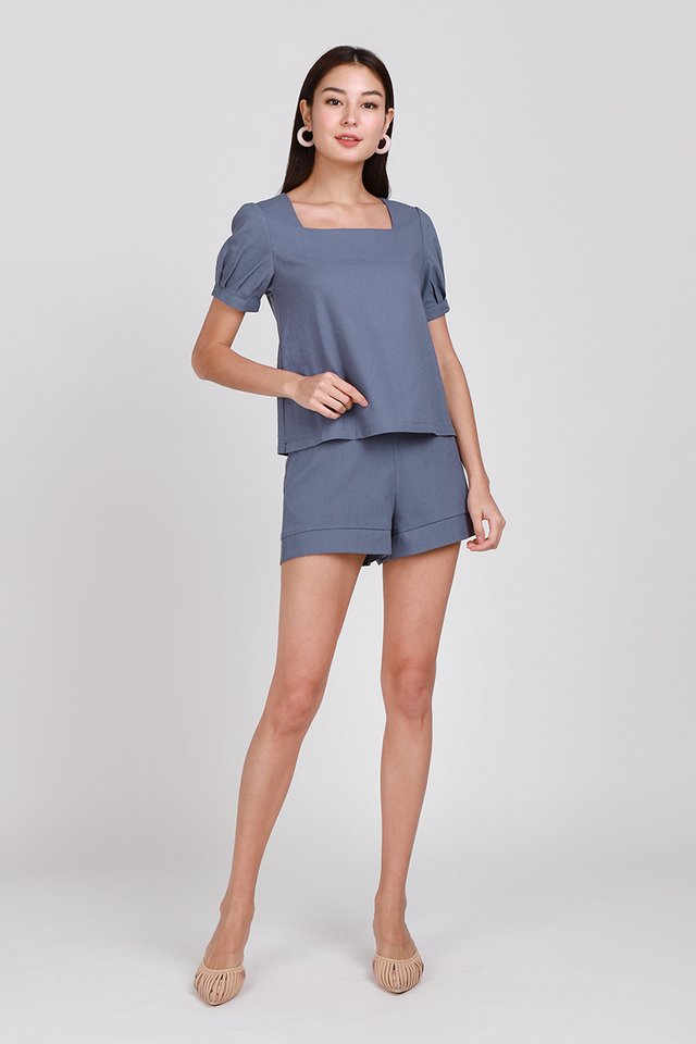 Good Days Ahead Shorts In Muted Blue