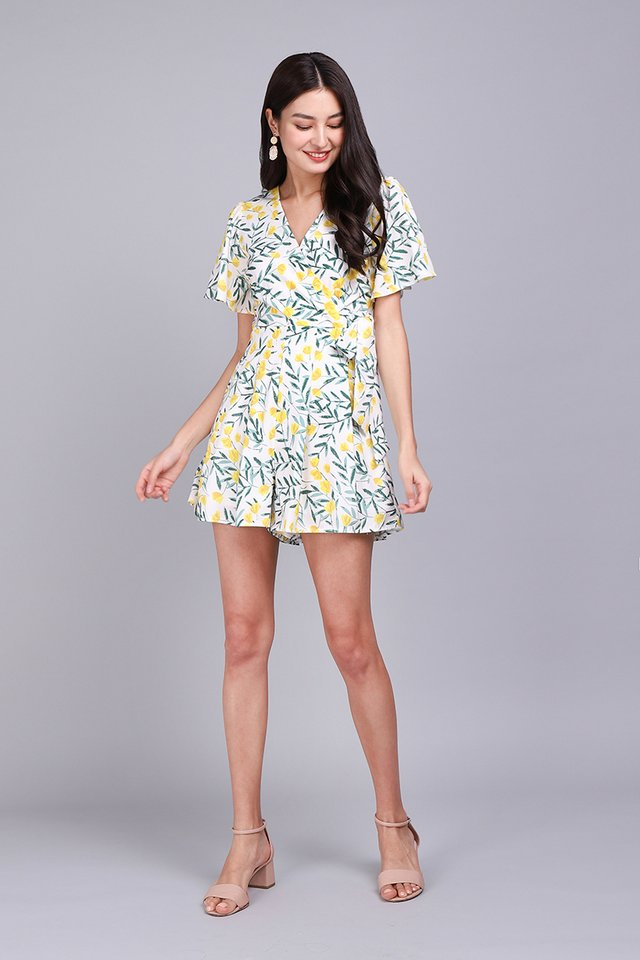 Endless Possibilities Romper In Yellow Blooms