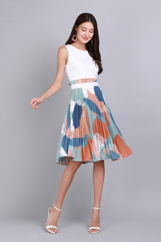 Paint My Love Dress In White Abstract