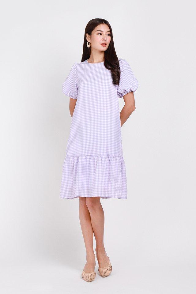 Idyllic Spring Dress In Lavender Gingham