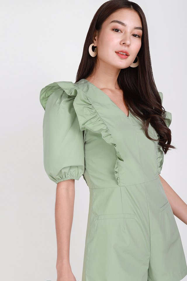 Beneath The Waves Romper In Sage Green