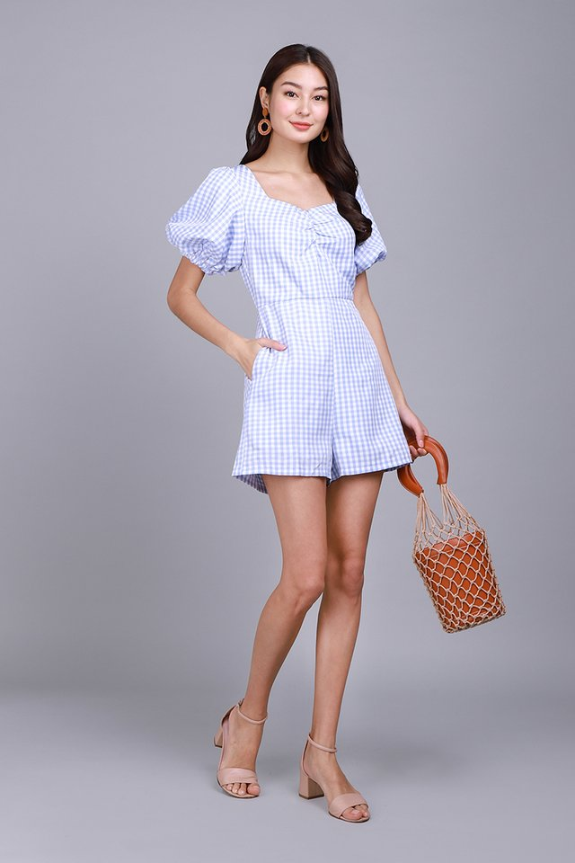 The Lucky One Romper In Sky Gingham