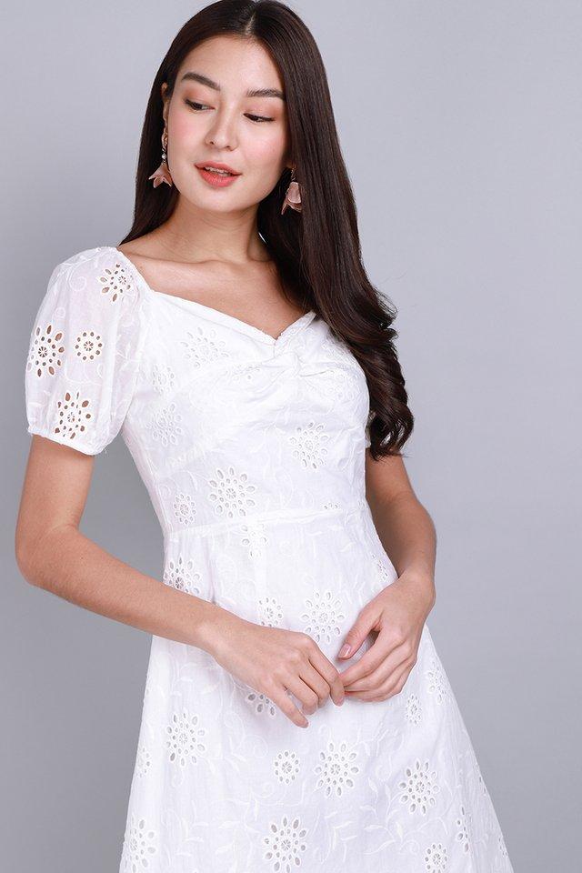 Bring Your Own Sunshine Dress In White Eyelet