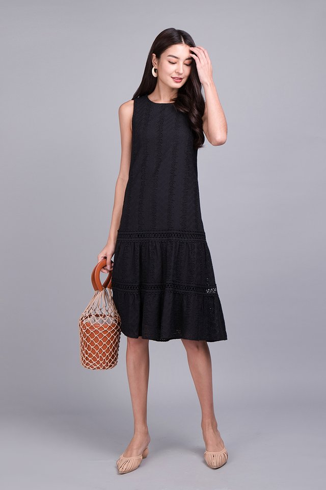 Tiers Of Delight Dress In Classic Black
