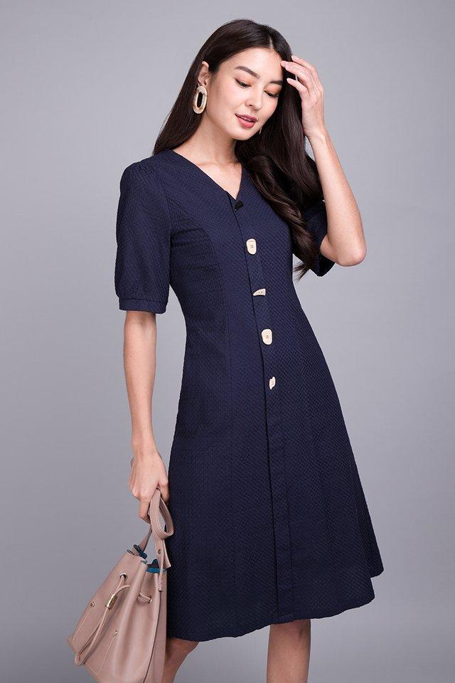 Noteworthy Ensemble Dress In Navy Blue