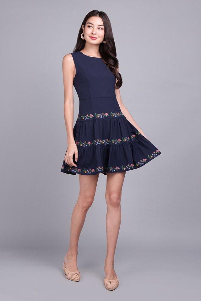 Feminine Charm Dress In Navy Blue