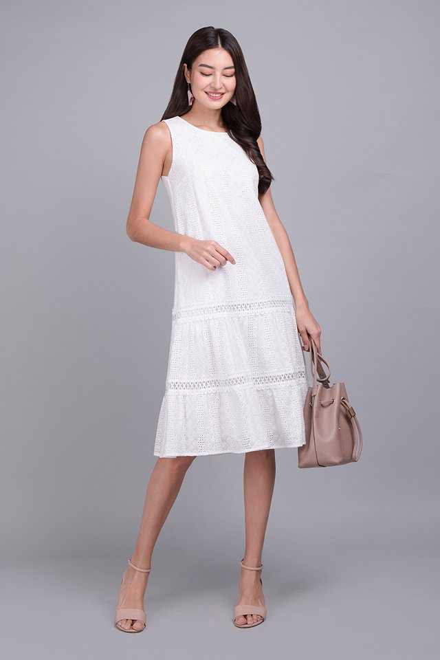 Tiers Of Delight Dress In Classic White
