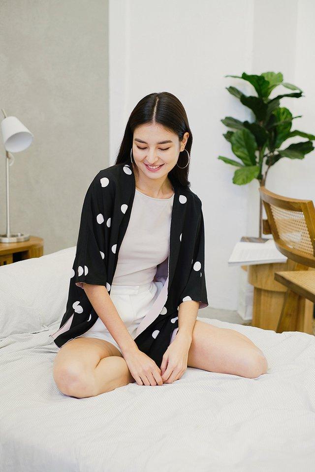 Cafe Treats Kimono In Black Dots