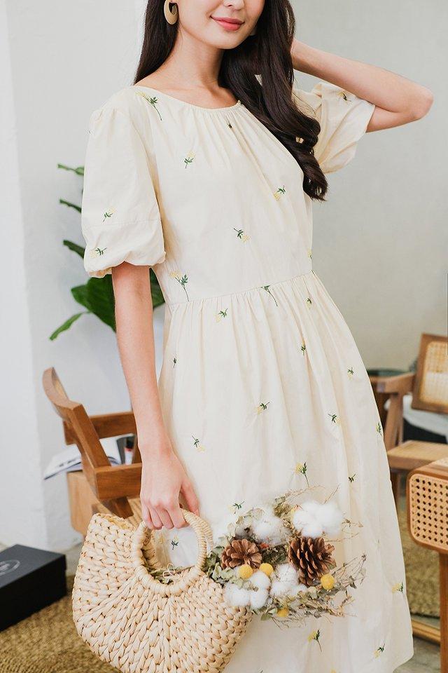 Written In The Stars Dress In Cream Florals
