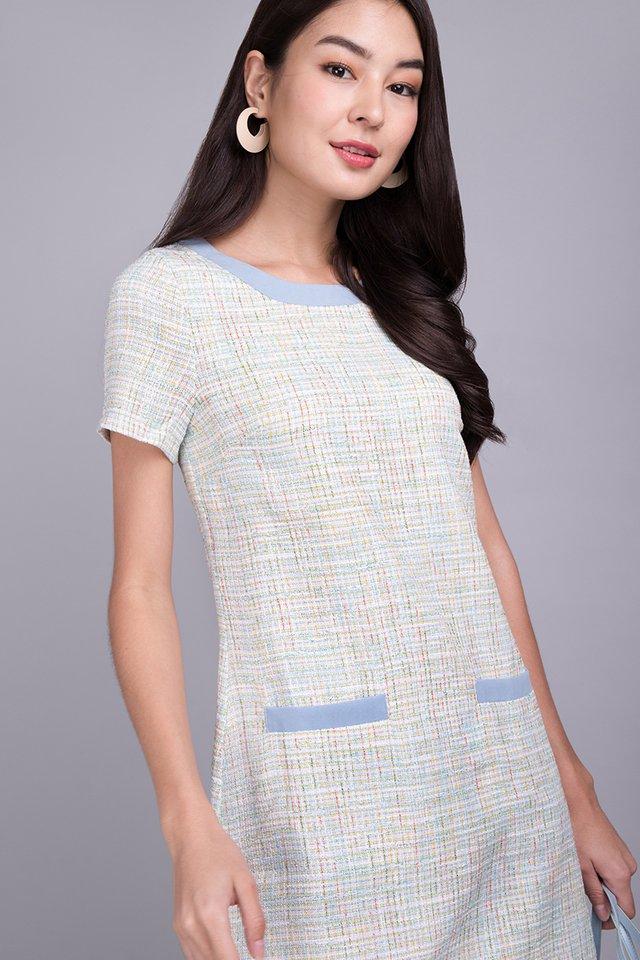 Effortless Charisma Dress In Sky Tweed