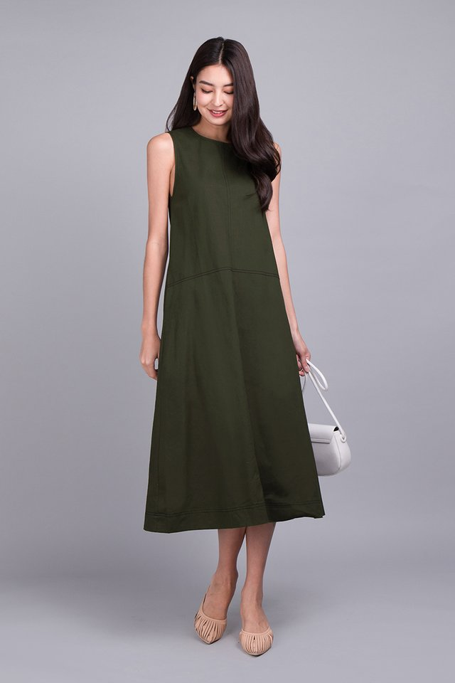 Streets Of London Dress In Olive Green