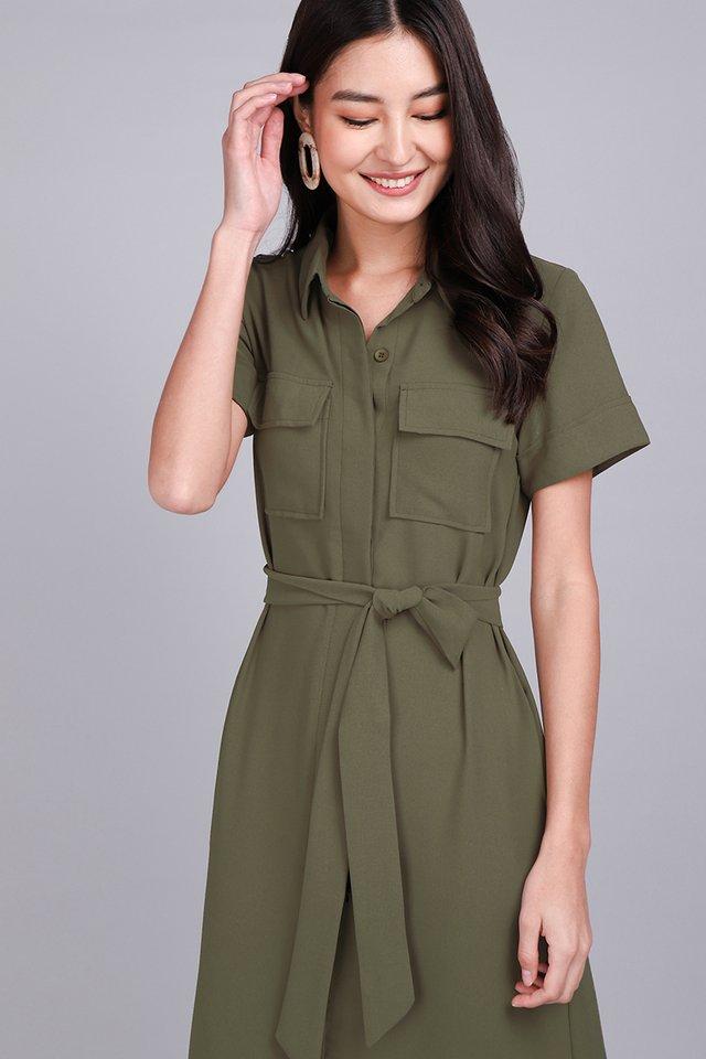 [BO] Sunday Strolls Dress In Olive Green