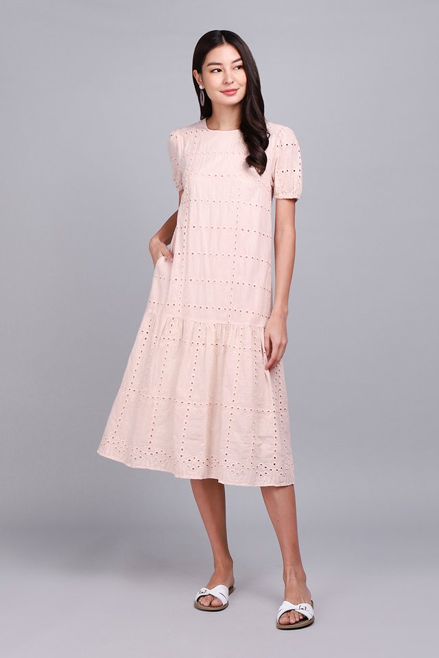 Delicate Things In Life Dress In Chiffon Pink Eyelet