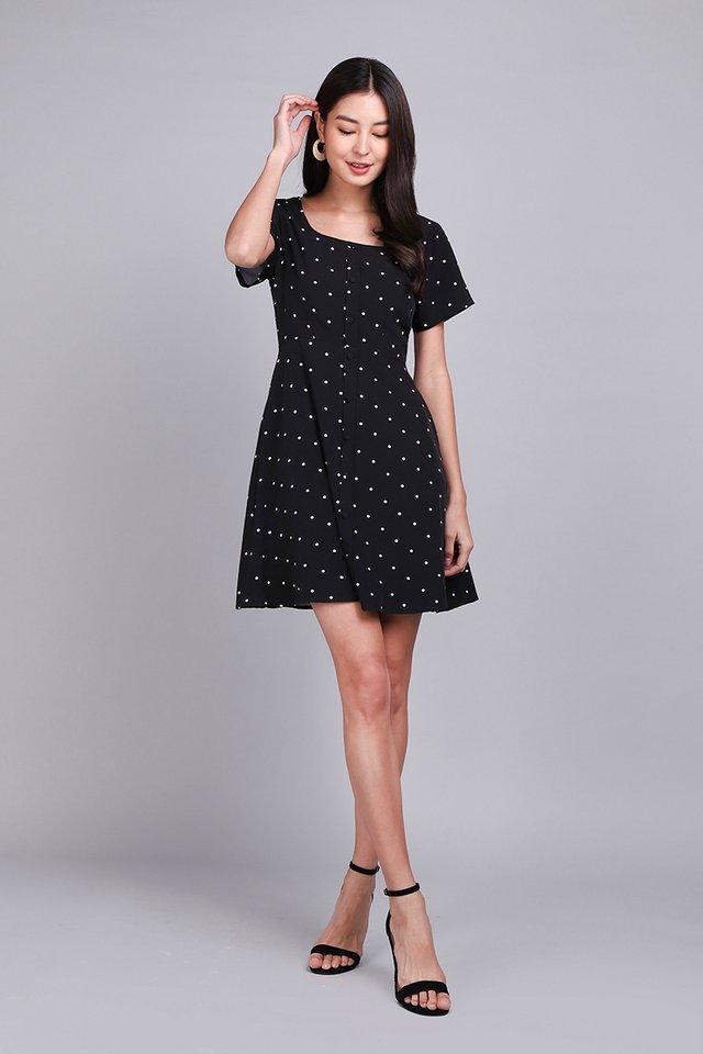 Starry Romance Dress In Black Dots