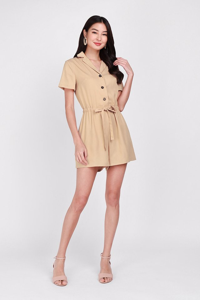Comfortably Yours Romper In Sand