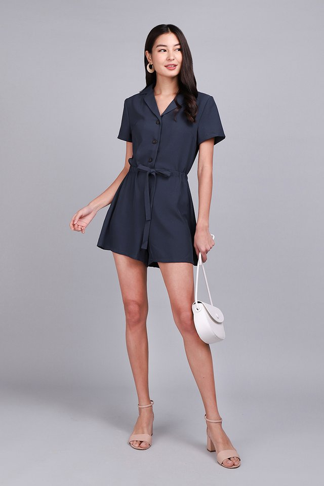 Comfortably Yours Romper In Steel Blue