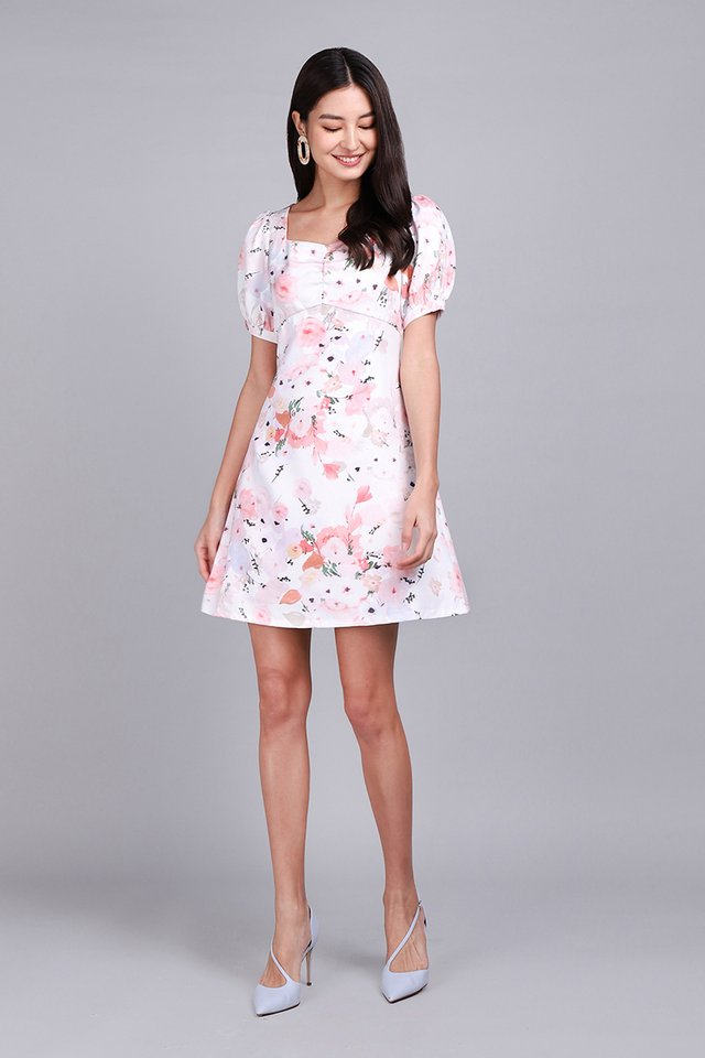 Nectar And Honey Dress In Pink Florals