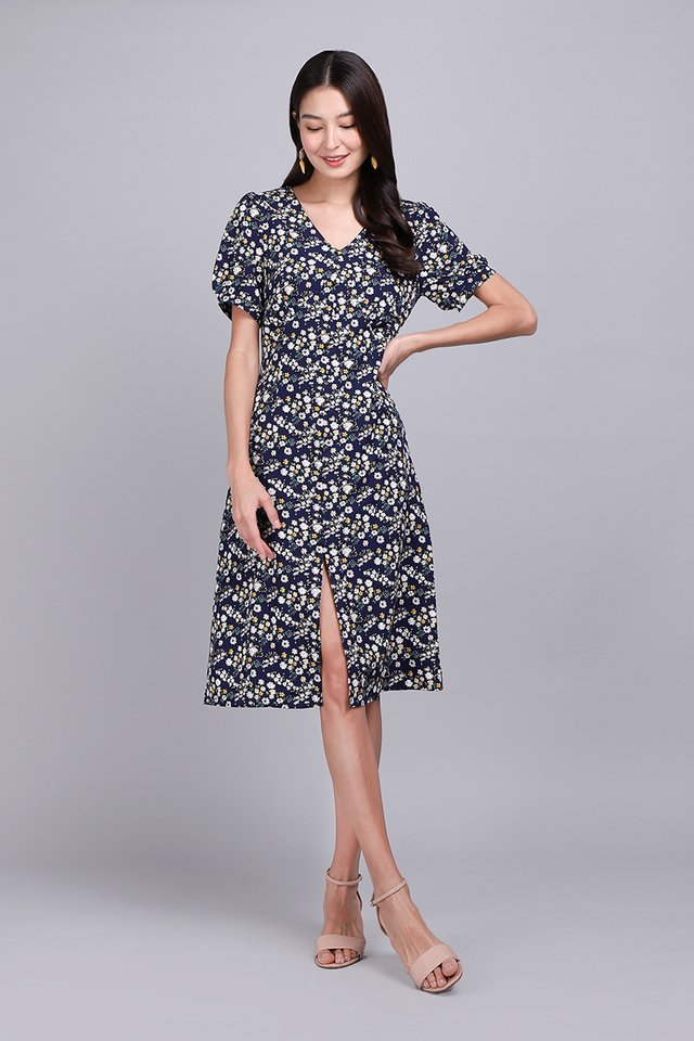 Midnight Enchantment Dress In Blue Florals
