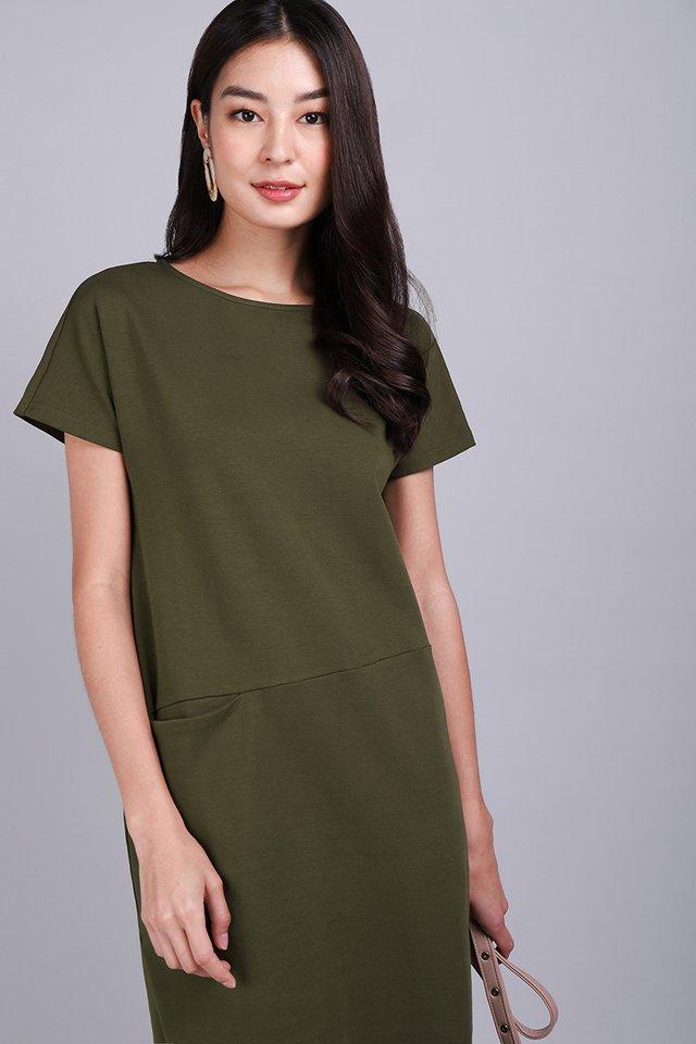 Sidney Dress In Olive Green