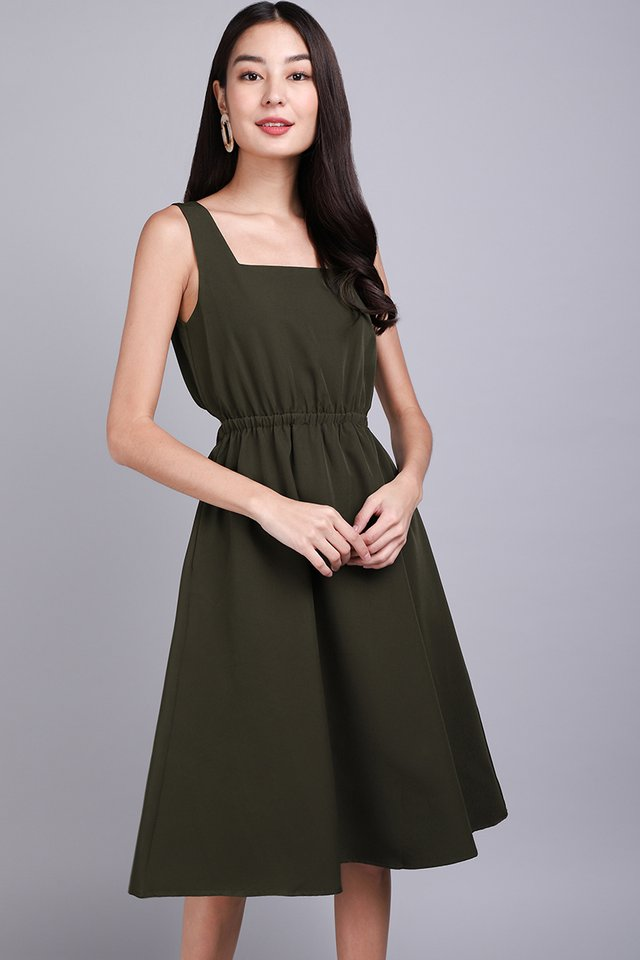 Summer In The City Dress In Olive Green