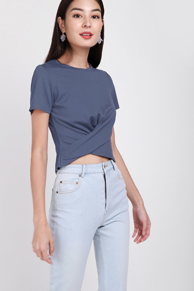Cora Top In Muted Blue