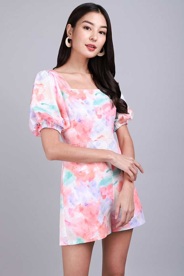 Paint A Picture Romper In Pink Prints