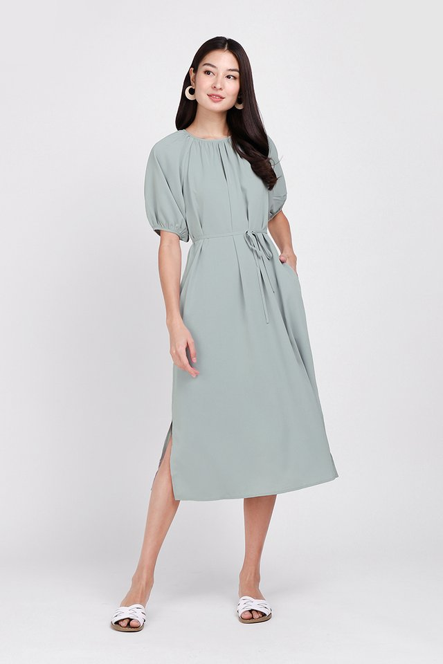 Gentle Disposition Dress In Muted Sage