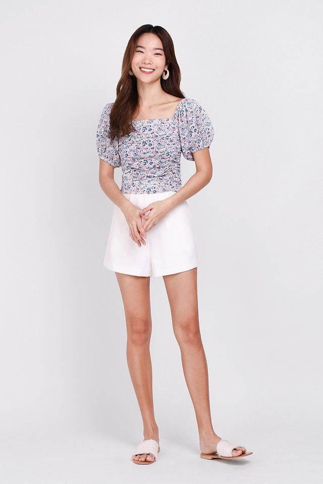 Highly Adored Top In Blue Florals