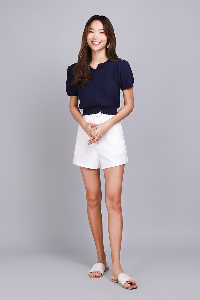 Closely Knitted Top In Navy Blue