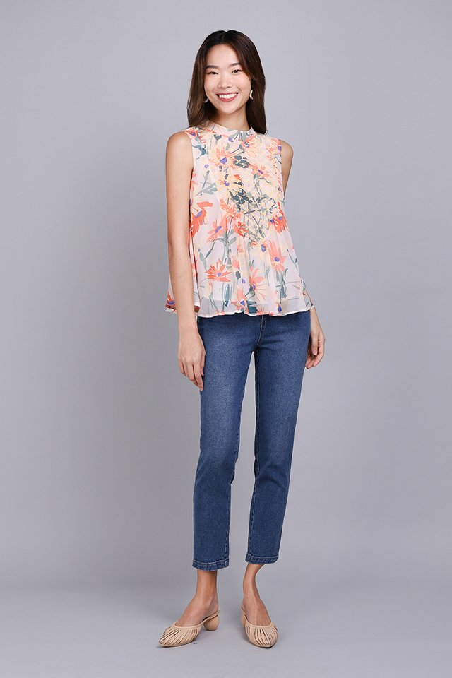 Autumn Melody Top In Apricot Florals