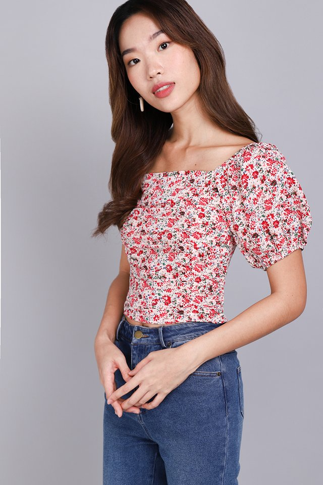 Highly Adored Top In Red Florals
