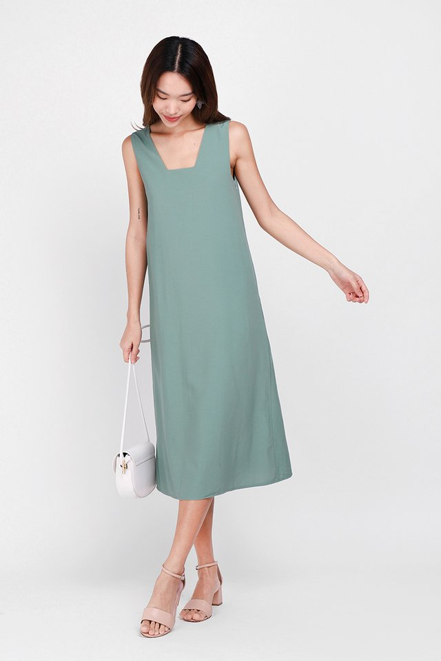 Over The Valley Dress In Sage Green
