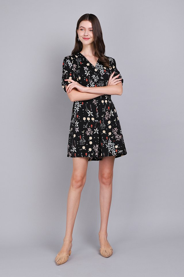 Brimming With Sunshine Romper In Black Florals